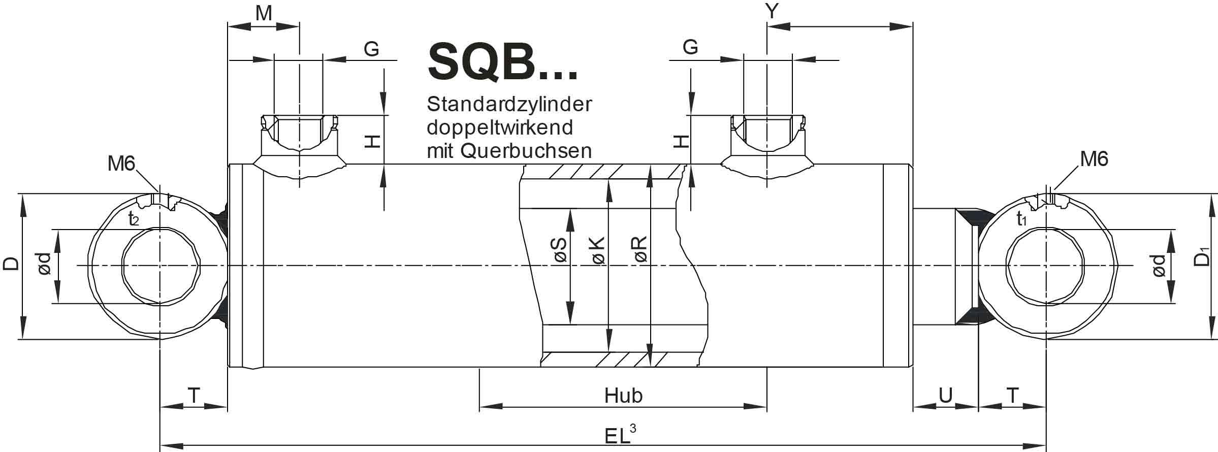 Bauplan Hydraulikzylinder doppeltwirkend