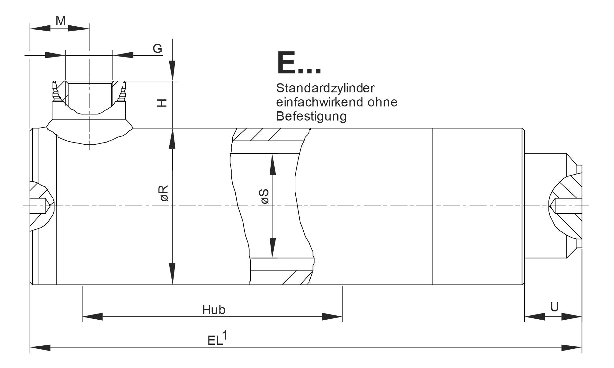 Zeichnung Einfachwirkende Hydraulikzylinder