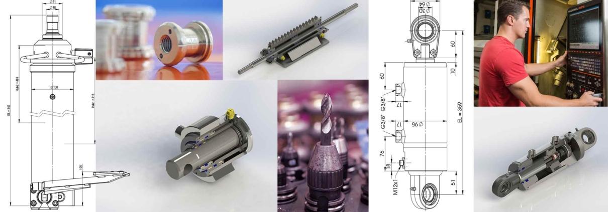 Collage Bilder und Bauplan Sonderzylinder Hydraulik