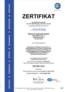 Zertifikat für Hydraulikhersteller